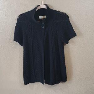 Sonoma Short Sleeve Black Poncho Sweater